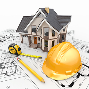 A graphic showing a hard hat looking over a house.