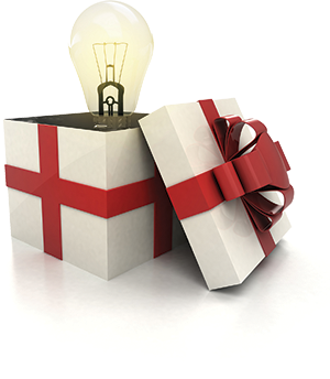 A graphic of a present being open with a light bulb sticking out.