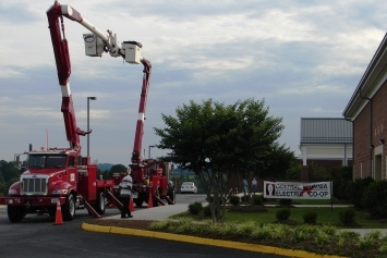 CVEC Bucket Trucks at the entrance of CVEC's Annual Meeting.