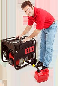 A man starting a generator.