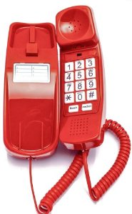 A stock image of a red LAN line telephone.