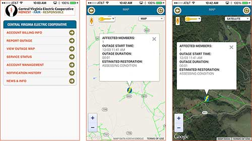Three separate screenshots showing off the smart phone app.